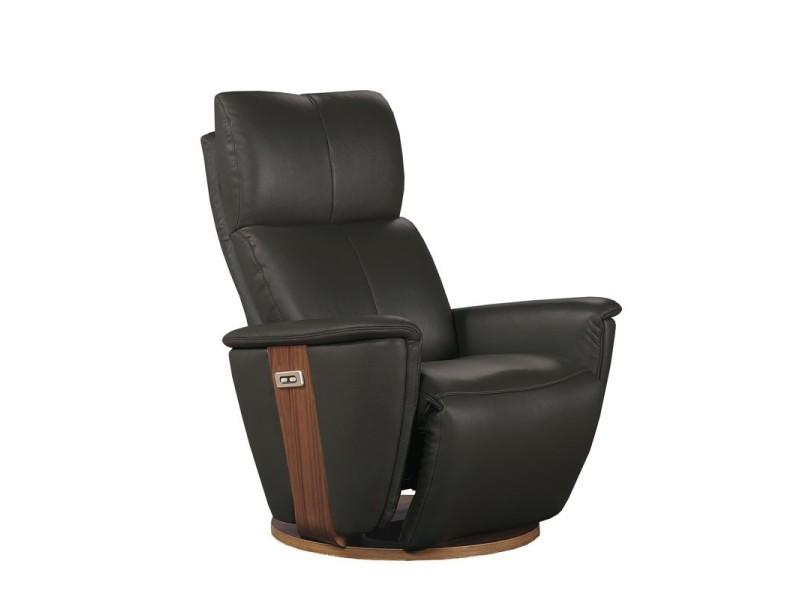 Fauteuil de relaxation électrique cuir anthracite - dexter - l 85 x l 90 x h 110 - neuf