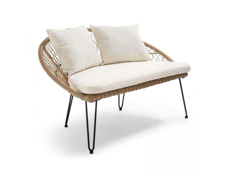Canapé de jardin 2 places avec coussins, en imitation rotin, bora bora 2 places résine tressée marron