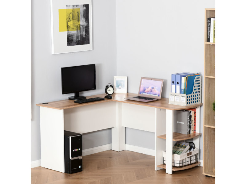 bureau informatique bureau d 39 angle contemporain avec tag res bicolore noyer clair blanc vente. Black Bedroom Furniture Sets. Home Design Ideas