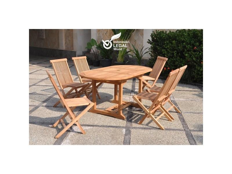 Le leti : salon de jardin teck 6/8 pers. 6 chaises et table ovale ...