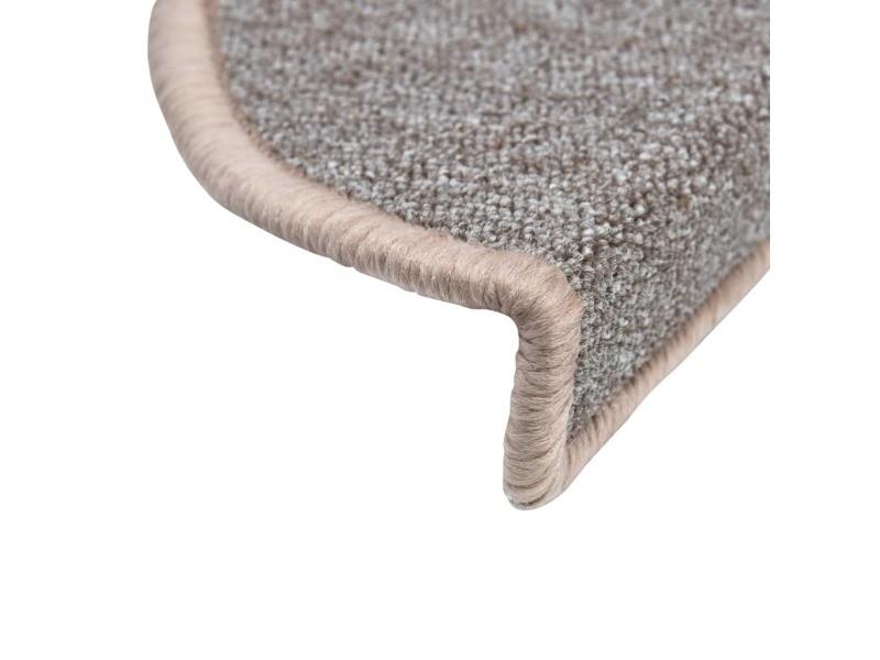 Vidaxl tapis d\'escalier 15 pcs marron clair 65 x 24 x 4 cm ...