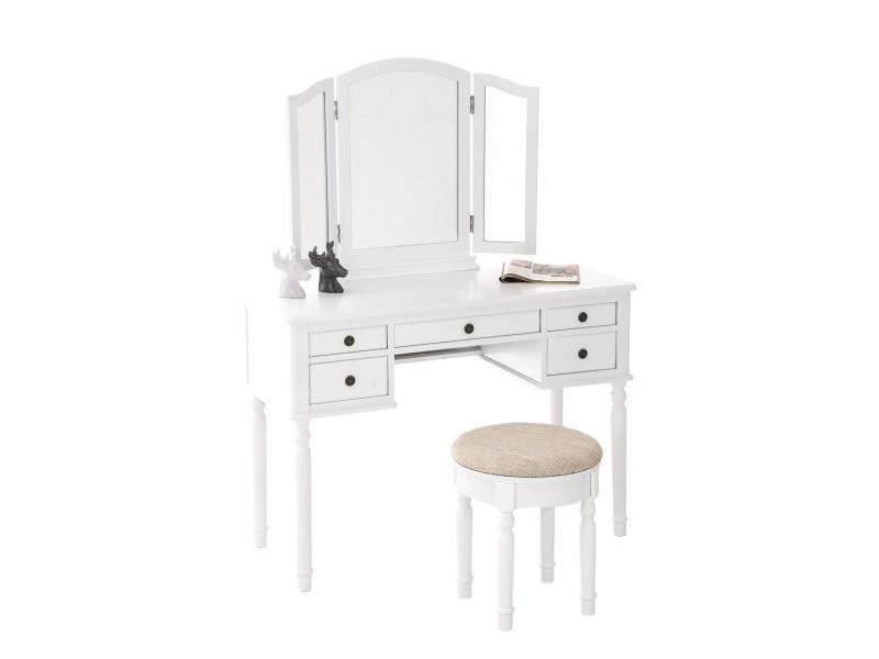 Coiffeuse avec miroirs et tabouret en bois coloris blanc x