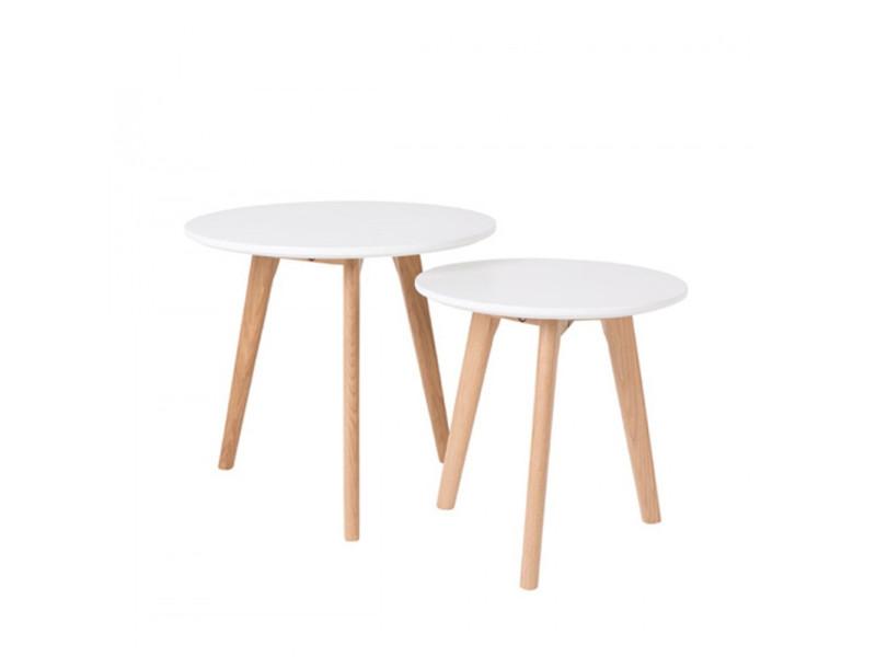 Lot de 2 tables d'appoint scandinave bodine - couleur - blanc / chêne 2300069