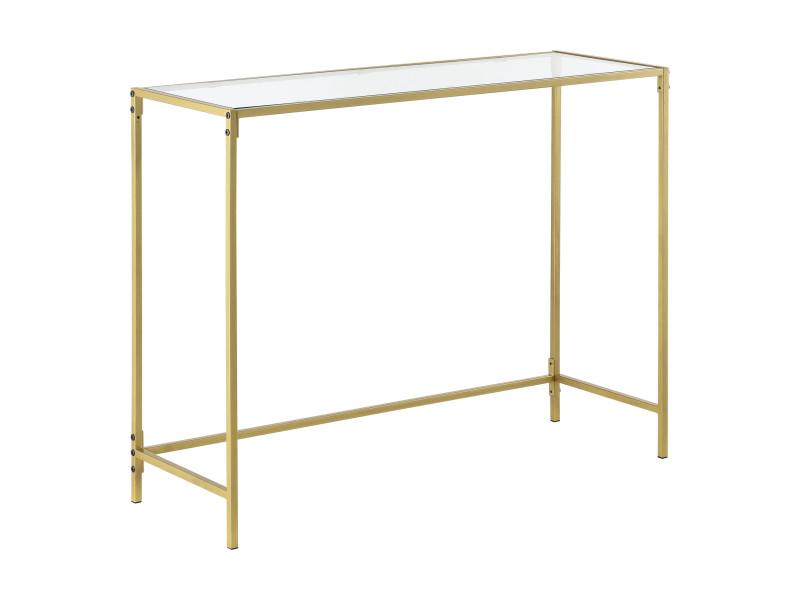 Table console pour salon table d'appoint design plateau en verre pieds en acier 100 x 35 x 80 cm doré [en.casa]