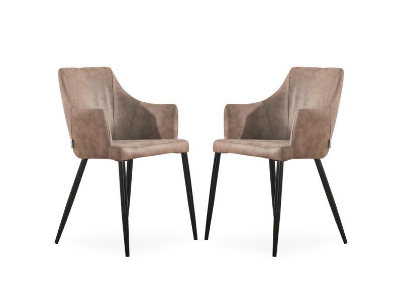 Lot de 2 chaises zarah en simili cuir marron clair - rembourrée
