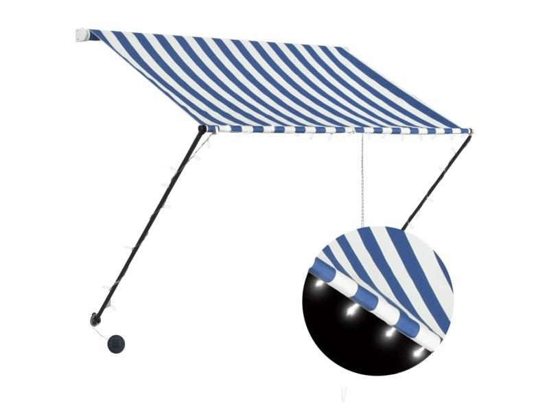Vidaxl auvent rétractable avec led 200x150 cm bleu et blanc 145902
