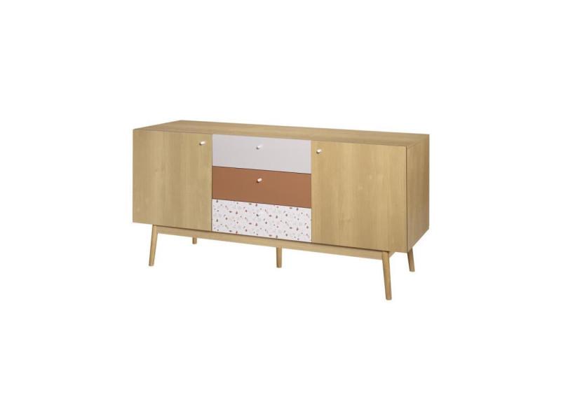 Buffet 2 portes et 3 tiroirs - en panneaux de particules avec piétement en bois massif - gardenia HT18B0060