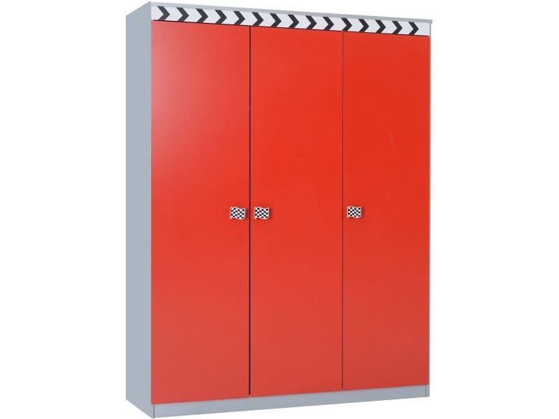 Armoire enfant 3 portes f1 coloris rouge - Vente de Armoire ...