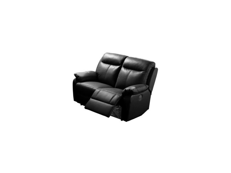 Canapé relax électrique 2 places cuir noir - vyctoire - l 150 x l 95 x h 101 - neuf