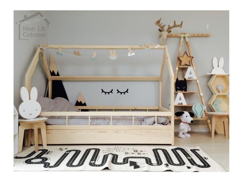 lit cabane h barri re pleine 90x190 sommier vente de. Black Bedroom Furniture Sets. Home Design Ideas
