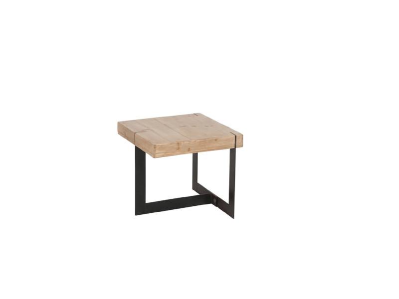 Table Gigogne Carre Moderne Bois Metal Vente De Hellin Conforama