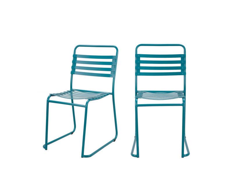 Lot de 2 chaises indoor/outdoor park - couleur - bleu canard RCF1700 ...