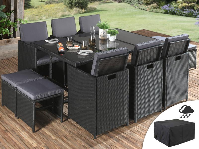 Sophia - salon de jardin encastrable 10 places - en résine tressée - noir avec coussins gris + housse de protection couleur - noir