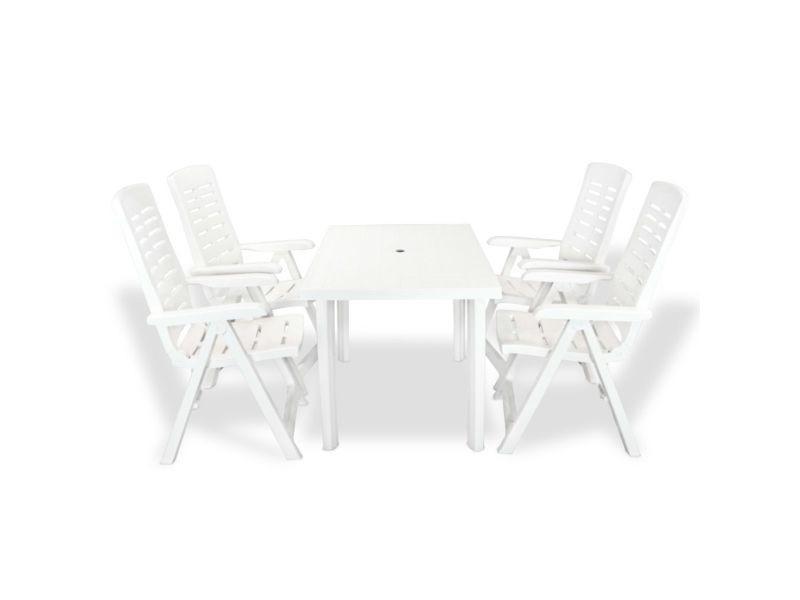 Vidaxl jeu de salle à manger d'extérieur 5 pcs 126 x 76 72 cm blanc 275074