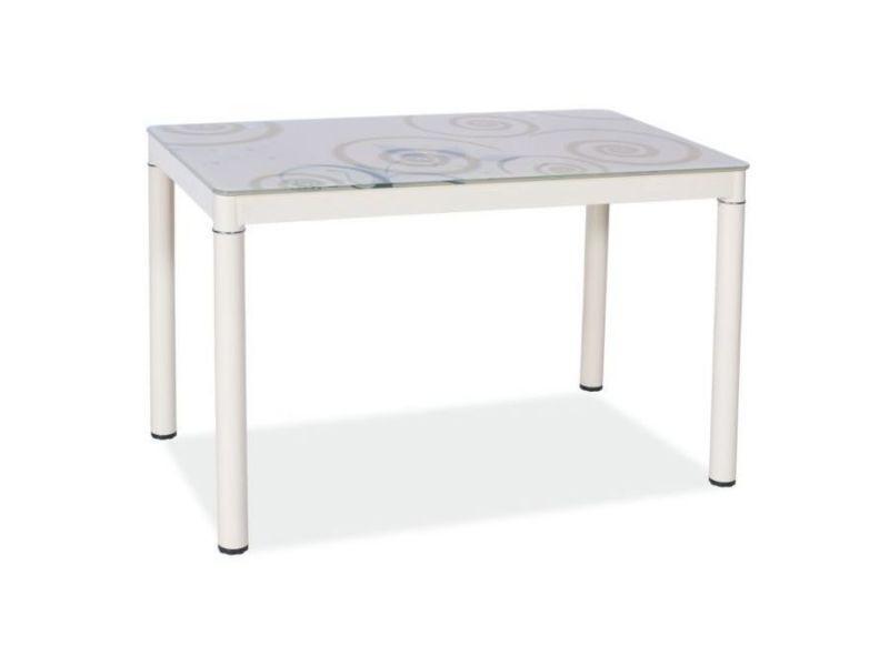 Damatik - table moderne plateau à motifs - 80x60x75 cm - plateau en verre trempé - cadre en métal - table cuisine - crème
