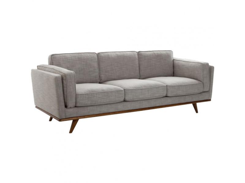 Canapé 3 places en pin massif et tissu chiné gris clair - lunita 4610