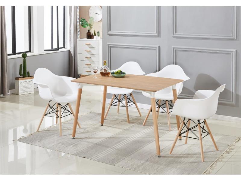 Ensemble table effet chêne & 4 chaises blanches avec