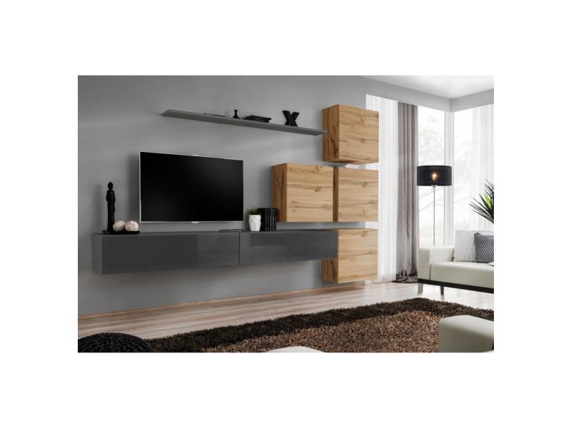 Ensemble mural - switch ix - 4 vitrines carrées - 2 bancs tv - 1 étagère - bois et graphite - modèle 2
