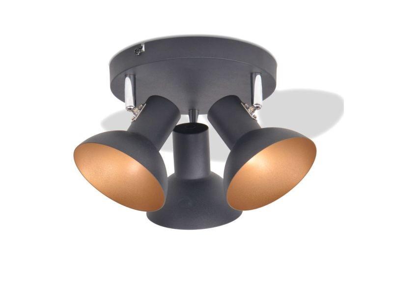 Icaverne - plafonniers reference plafonnier pour 3 ampoules e27 noir et doré