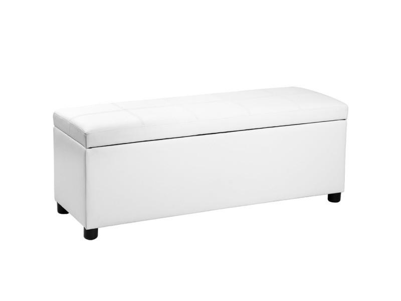 Corium divan ottoman (119 x 38 x 45 cm)(blanc) banquette coussins banc tabouret tabouret de lit coffre banc