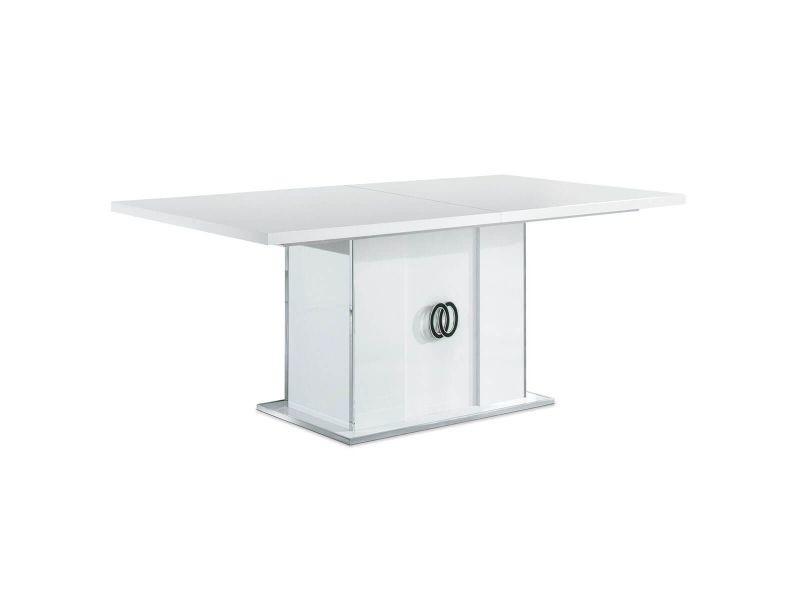 Aglae - table repas rectangulaire allongeable laqué blanc