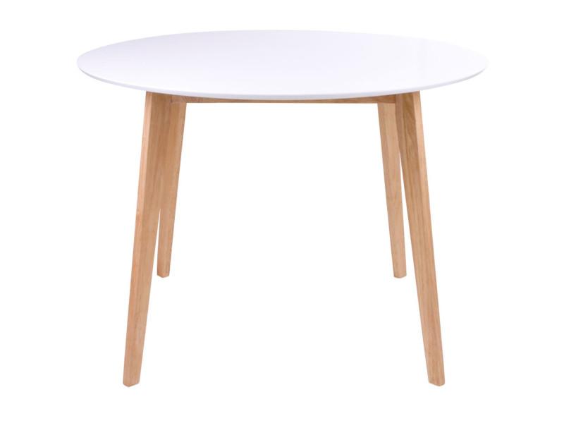 Table de repas coloris blanc / naturel en bois - dim : ø 105 x 105 x h75 cm -pegane-