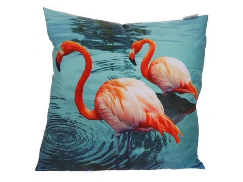 Coussin ou oreiller flamants roses sur lac