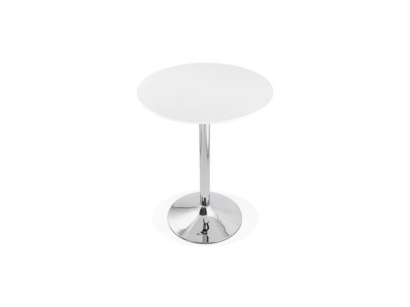 Table de bar ronde 90 cm en bois blanc et métal - barman