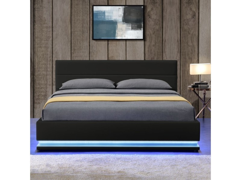lit led avec coffre de rangement avas noir tailles 140x190 vente de meubler design. Black Bedroom Furniture Sets. Home Design Ideas