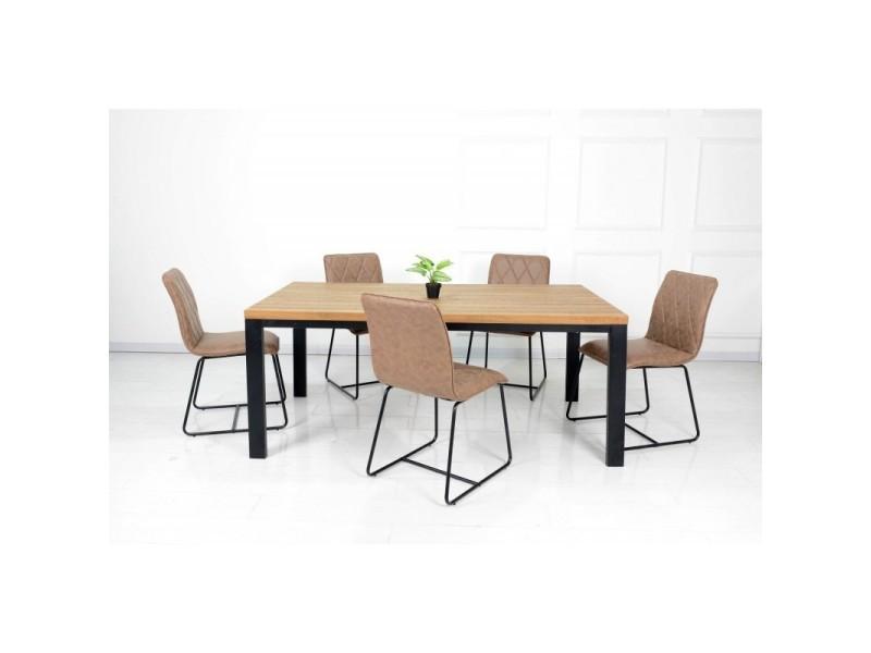 Ensemble table et chaises. Table 200 cm aaron + 6 chaises lea coloris brun.