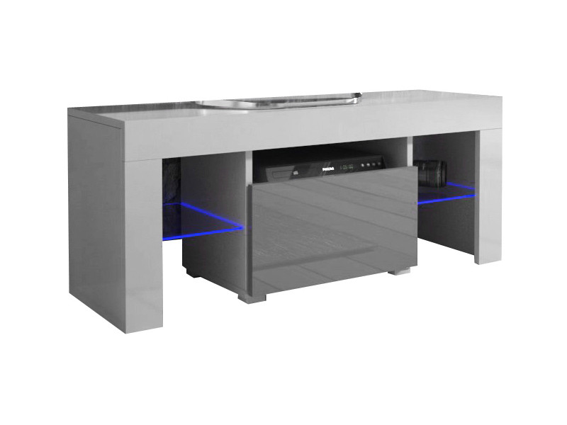 Meuble tv 110 cm blanc mat gris brillant + led rgb