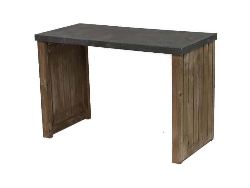 Grande console table de drapier bois et zinc 120 cm 10564-GM