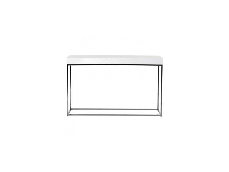 Console plateau laqué blanc et chrome block