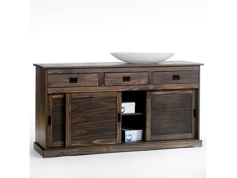 buffet savona bahut vaisselier commode avec 3 tiroirs et 3 portes coulissantes en pin massif. Black Bedroom Furniture Sets. Home Design Ideas