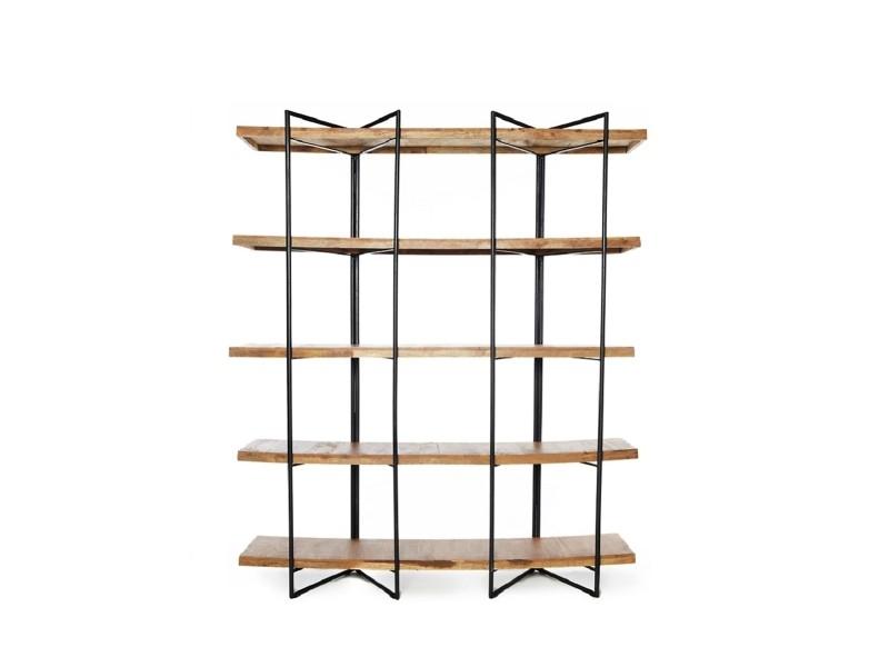 Bibliothèque design en métal et bois clair 180 x 150 cm leonna zendart sélection