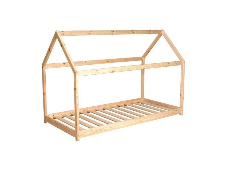 Structure de lit panda lit enfant cabane - style junior - bois pin massif naturel - sommier en bois épicéa inclus - l 90 x l 190 cm