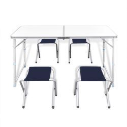 Vidaxl table pliante de camping hauteur ajustable avec 4 tabourets