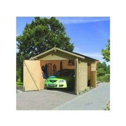 Garage en bois certifié 13,28m² – madriers 28mm – karibu