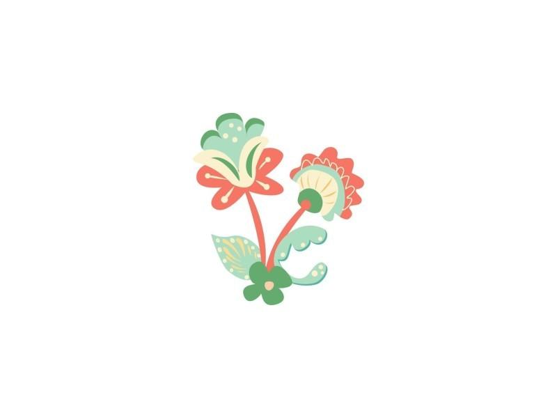 Sticker enfant : fleur russe rouge - format : 37 x 42 cm