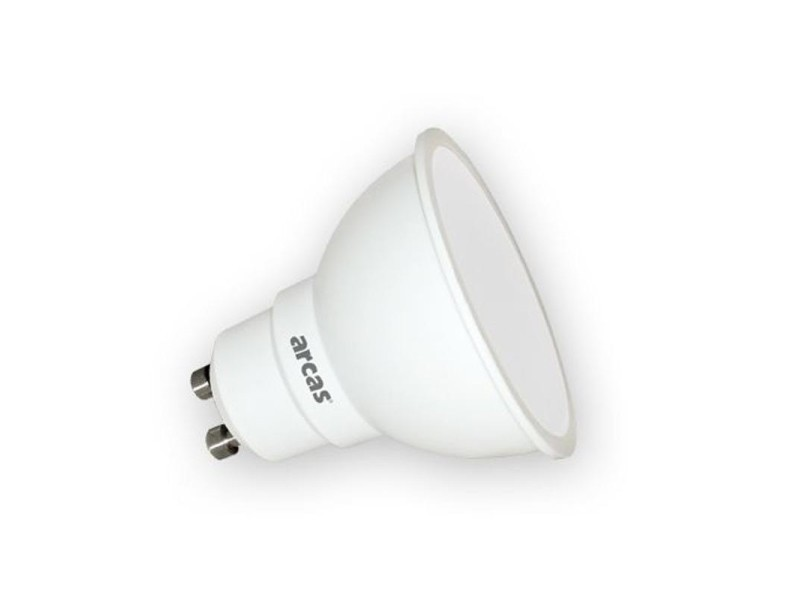 Ampoule économique led arcas 6 watts (=38w) warm-white 3000k gu10 (450 lumens)