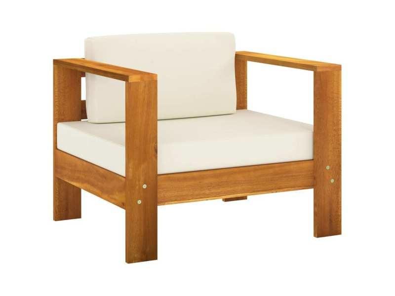 Vidaxl salon de jardin 10 pcs avec coussins blanc crème bois d'acacia