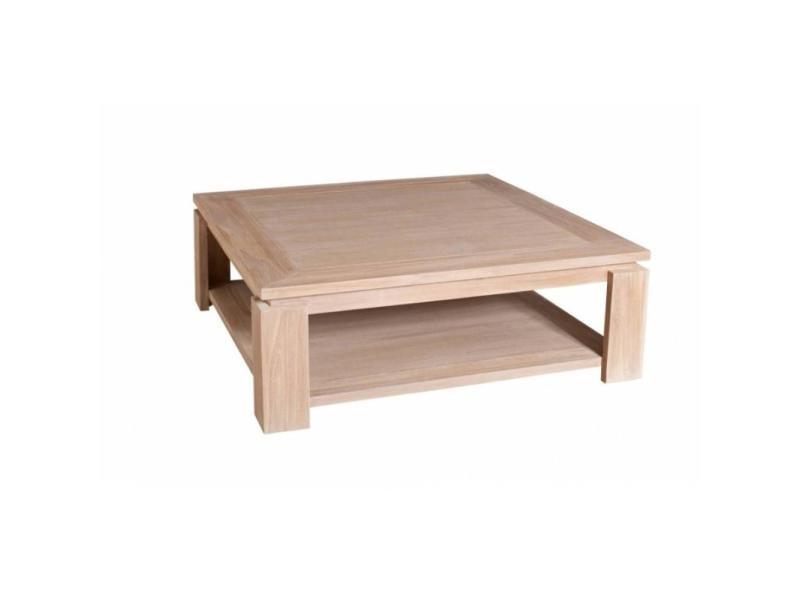 Table basse carrée 90 x 90 cm ines style colonial en teck blanchi 20100857947