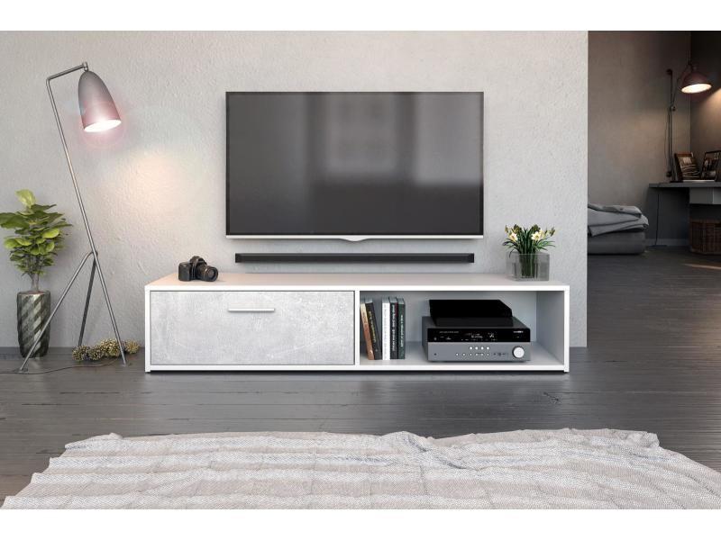 Meuble tv vento blanc mat et béton