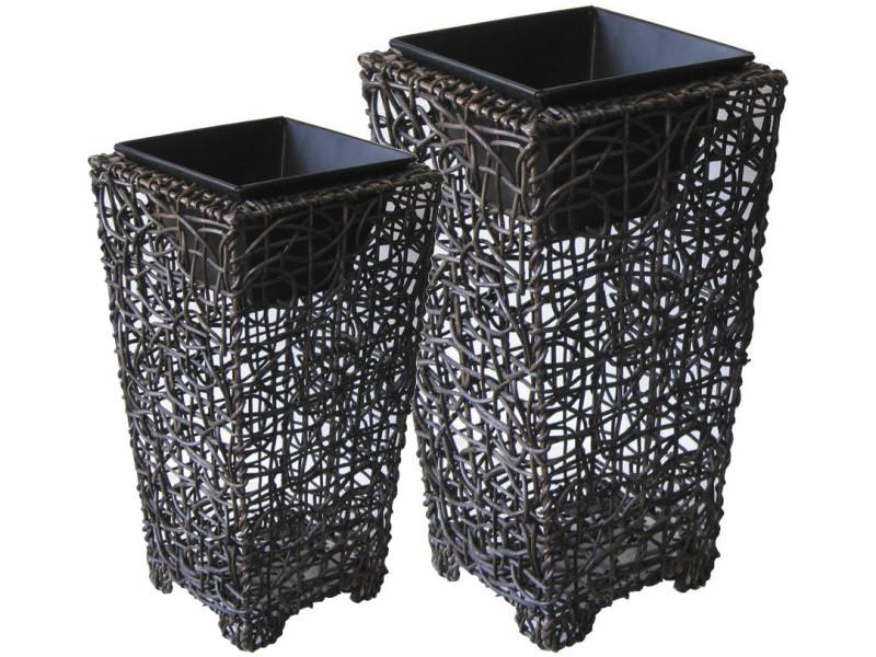 Vases en rotin et métal (lot de 2)
