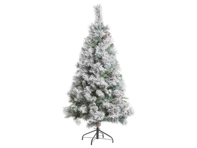 Feeric christmas - sapin de noël artificiel vert floqué neige et pommes de pin h 150 cm collection minnesota