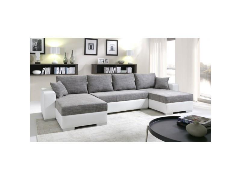canap d 39 angle convertible enno tissu gris et simili cuir. Black Bedroom Furniture Sets. Home Design Ideas