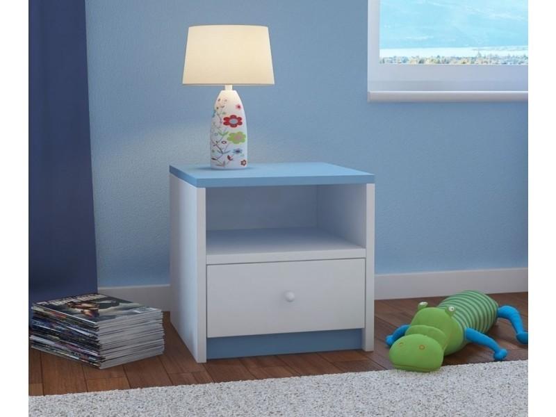 table de chevet enfant 1 tiroir bleu vente de chevet. Black Bedroom Furniture Sets. Home Design Ideas