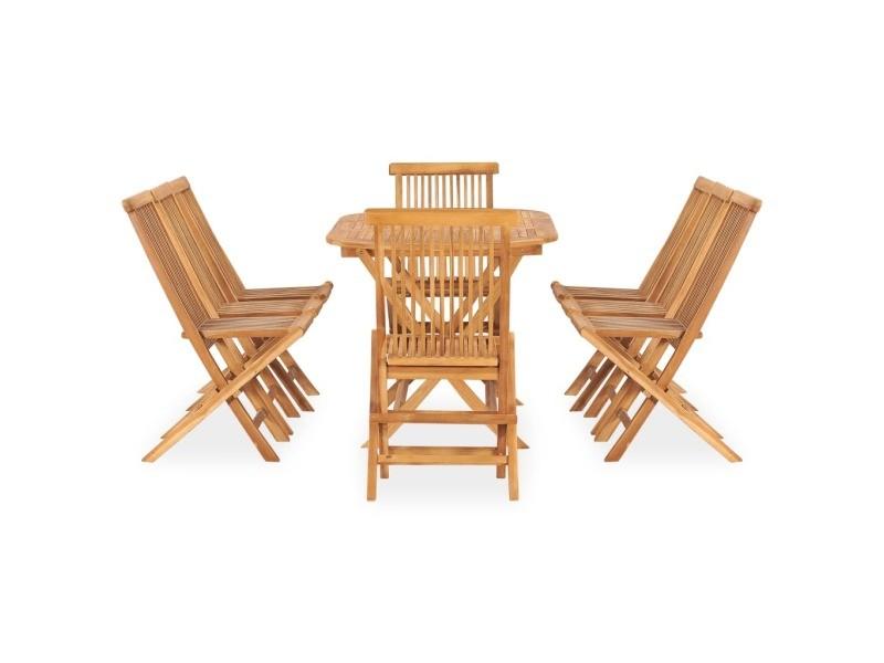 Vidaxl mobilier à dîner d'extérieur pliable 9 pcs bois solide de teck