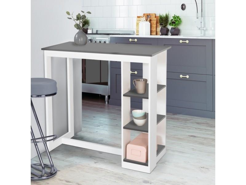 Table de bar barth 2 à 4 personnes ajourée bois blanc plateau gris