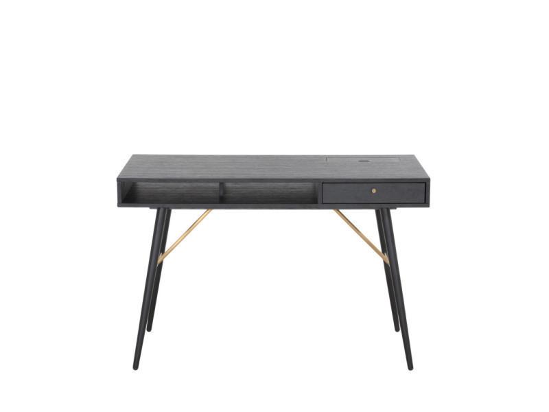 Bureau design 2 niches 1 tiroir makassar couleur noir j3496